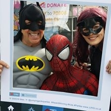 SPIDERMAN CATWOMAN AND PETE PRICE RAISING MONEY FOR ZOES PLACE