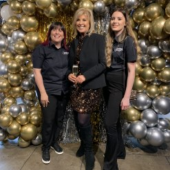 Gold and Silver chrome balloons with Gold and Silver foil  photo backdrop with Lucy Meacock