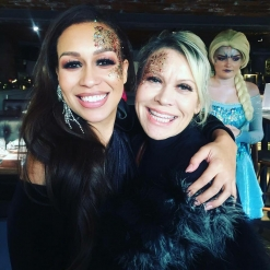 REBECCA FERGUSON AND TINA MALONE SHOWING OFF THEIR GLITTER FACES