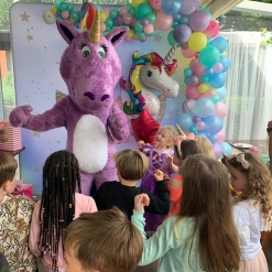 STAR THE UNICORN DANCING AT A JUMPING JACKS PARTY