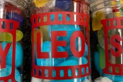 Movie night themed filled personalised sweet jars